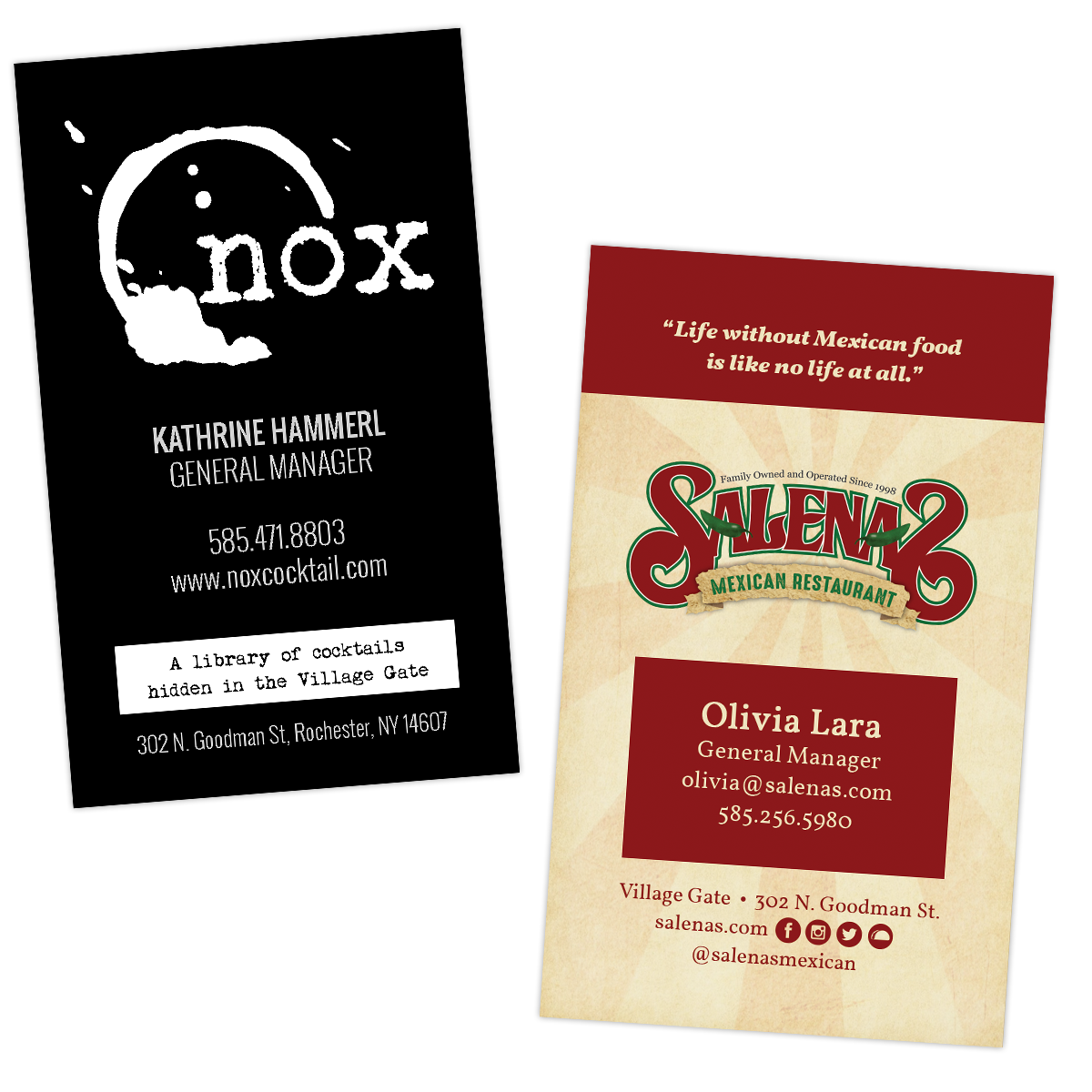 Business Cards for Salena\'s & Nox - Rochester Web Girl