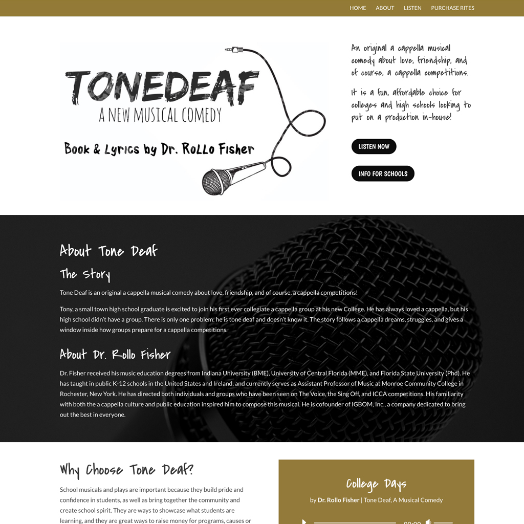 Website Design – Tone Deaf the Musical